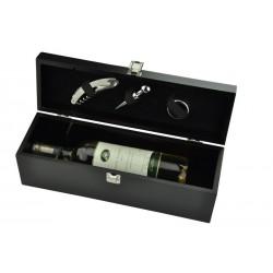 Ξύλινη θήκη για ένα μπουκάλι με 4 εργαλεία κρασιού